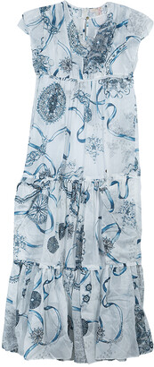 Roberto Cavalli White Printed Tiered Maxi Dress 10 Yrs