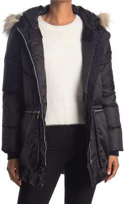 DKNY Patch Pocket Coat with Faux Fur Trim