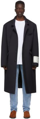 Off-White Navy Wool Volume Coat