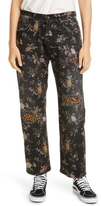 R 13 Floral Print Straight Leg Jeans