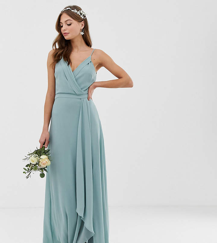 TFNC bridesmaid exclusive cami wrap maxi dress with fishtail in sage