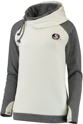Women's Cream/Charcoal Florida State Seminoles More Chill Layered Quilted Jacquard Pullover Hooded Sweatshirt