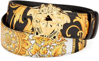 Versace Men's Reversible Barocco Medusa Leather Belt