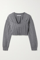 Alexander Wang - Cropped Pintucked Knitted Sweater - Gray