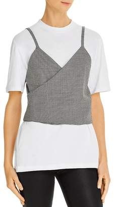 MSGM Tee with Cropped Houndstooth Vest