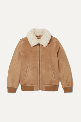 Yves Salomon Kids - Age 12 Shearling-trimmed Suede Bomber Jacket - Brown