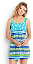 Lands' End Women's Petite Underwire Sweetheart Dresskini Swimsuit Top-Scuba Blue Foulard Stripe
