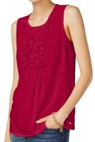 Tommy Hilfiger Womens Crepe Sleeveless Casual Top