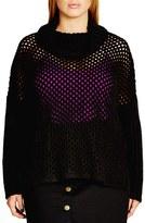 City Chic Plus Size Women's Open Stitch Cowl Neck Sweater
