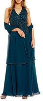 J Kara Petite Halter-Neck Beaded Gown