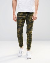Asos Super Skinny Jeans In Camo Print With Biker Panels