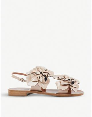 Miu Miu Floral-appliquéd patent-leather sandals