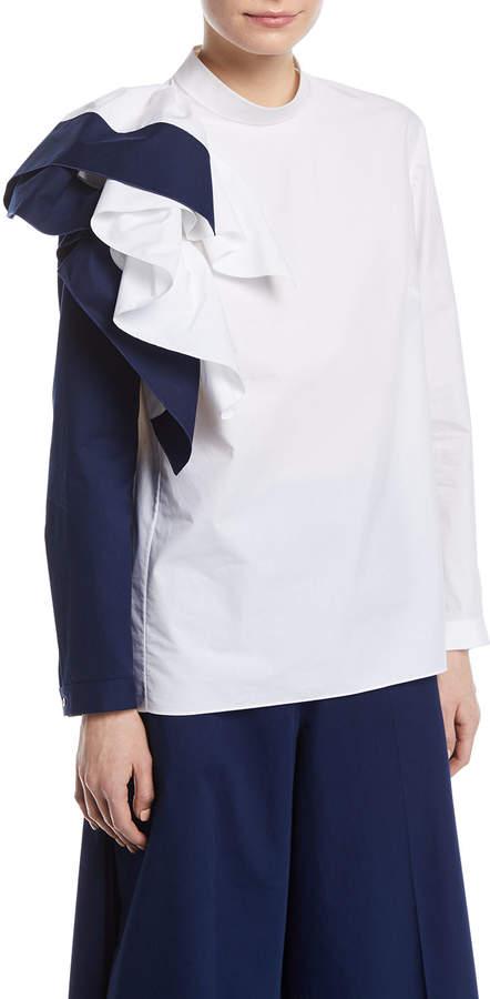 DELPOZO Colorblock Ruffle Long-Sleeve Cotton Top