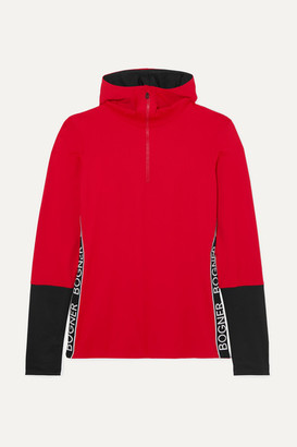 Bogner Mya Hooded Two-tone Stretch-jersey Top - Red
