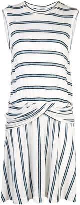 Derek Lam 10 Crosby Linen Striped Jersey Tank Dress with Twist Waist Detail