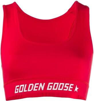 Golden Goose logo band sports bra