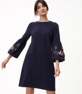 LOFT Petite Floral Embroidered Bell Sleeve Dress