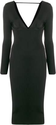 Pinko v-neck fitted midi dress