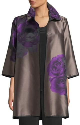 Caroline Rose Violet Rose Jacquard Topper Jacket