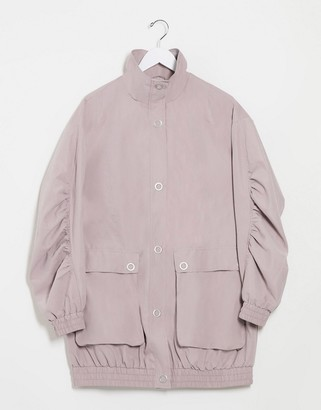 ASOS DESIGN oversized parka with extreme sleeves in lilac