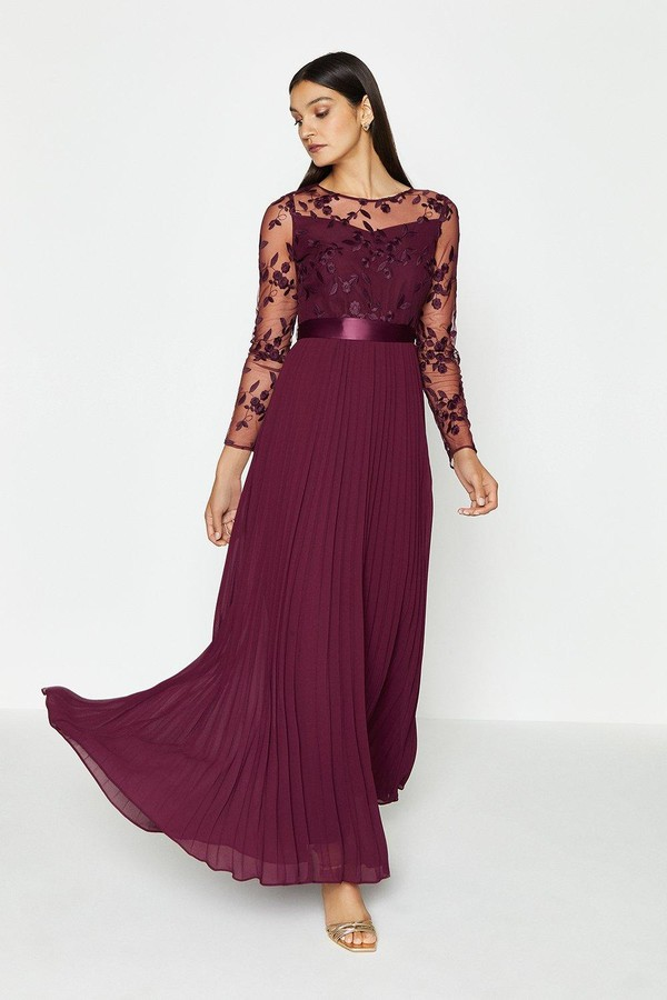 Coast Embroidered Long Sleeve Maxi Dress