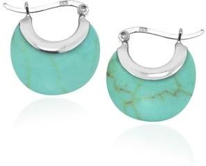 Aeravida Handmade Sleek Crescent Turquoise Stone Hoop Sterling Silver V-lock Earrings