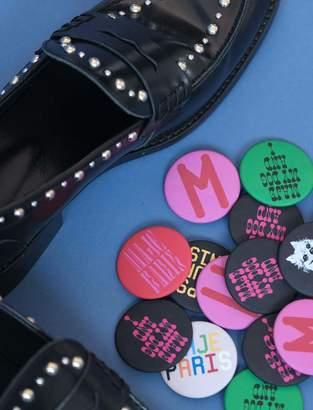 Maje Studded glazed leather moccasins