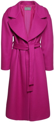 Alberta Ferretti Wool Blend Felt Long Coat W/ Belt