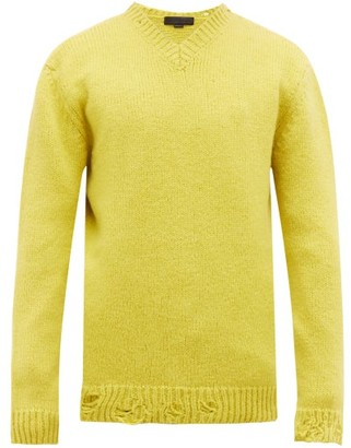 Stella McCartney Distressed V-neck Alpaca-wool Sweater - Mens - Yellow