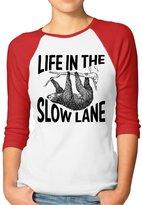 Rong T-shirts Women's Life In The Slow Lane Sloth Lovers Hooded Raglan Baseball T-Shirt