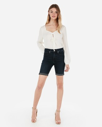 Express High Waisted Denim Perfect Double Roll Bermuda Jean Shorts