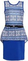 Mini Moca Big Girls Art Deco Print Belted Peplum Dress