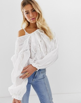 Free People Free Preople Maria Maria balloon sleeve blouse with lace inserts-White