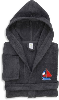 Linum Home Textiles Kids Boat Turkish Cotton Hooded Terry Bathrobe