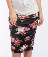Black Floral Ruched Maternity Midi Skirt