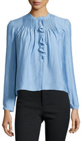 Isabel Marant Long-Sleeve Pintuck Ruffle Blouse, Light Blue