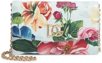 Dolce & Gabbana Micro St. Dauphine Floral Print Leather Crossbody Bag
