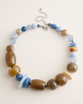 Chico's Chicos Beaded Blue and Neutral Bib Necklace