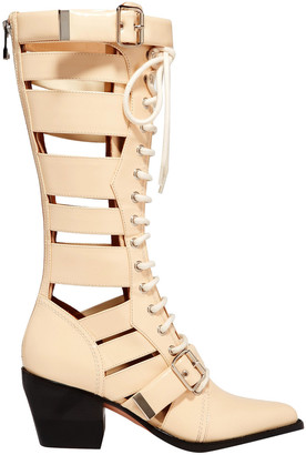 Chloé Rylee Lace-up Cutout Glossed-leather Boots