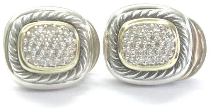 David Yurman Sterling Silver 18K Y/G Diamond Pave Albion Earrings