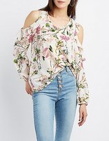 Charlotte Russe Floral Ruffle-Trim Cold Shoulder Top