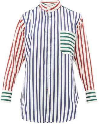 Charles Jeffrey Loverboy Band-collar Striped Cotton Shirt - White Multi