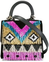 Les Petits Joueurs micro 'Alex Disco Fringe' tote - women - Cotton/Leather/glass - One Size