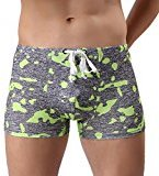HP95(TM) Men Camouflage Swimming Pants Briefs Shorts Boxers Underwear (L, Gray)