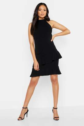 boohoo Tall Halter Neck Double Ruffle Mini Dress
