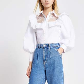 River Island White embroidered puff sleeve frill shirt