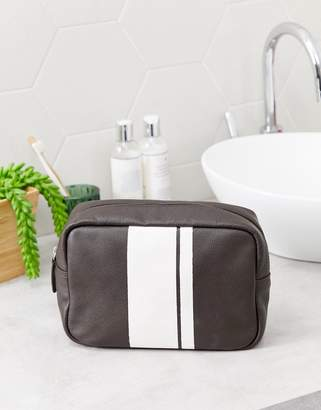 Asos Design DESIGN leather toiletry bag with stripe detail in brown-Tan