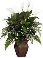 Nearly Natural 29 in. H Green Mixed Greens with Spathyfillum and Decorative Vase Silk Plant