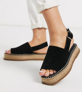 Asos Design DESIGN Wide Fit Hannah suede flatform espadrilles in black