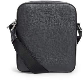 BOSS Grained Leather Messenger Bag